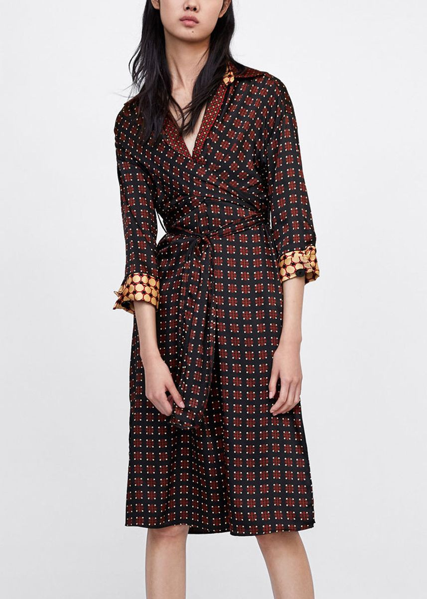 Brown color Dresses . MISSZUHARA  Graphic Collared Dress -