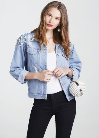 Blue color Jackets . Pearl Denim Jacket -