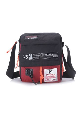 Red color Messenger Bags . Cool sports casual diagonal shoulder bag -