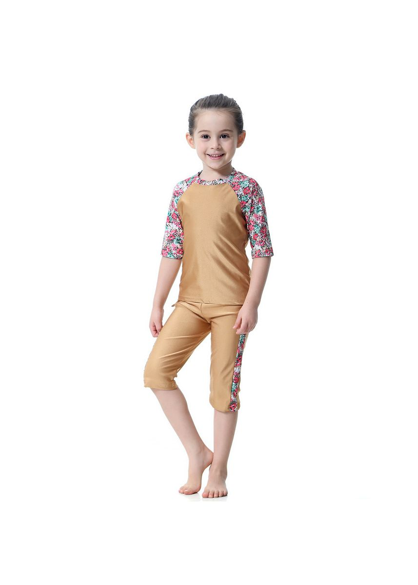 น้ำตาล color ชุดว่ายน้ำ . 150cm 11-12 Years Muslim Girl Traditional Fashion Swimwear Swimsuit -