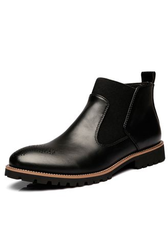 ดำ color บู้ต . Genuine Leather Ankle Chelsea Boots Men Shoes With Fur warm Vintage  -