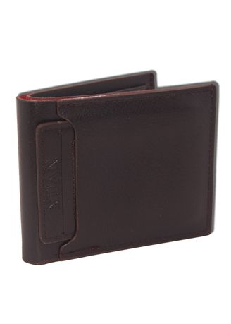 Brown color Wallets . Dompet Pria Casual Basic PU Leather Troy -