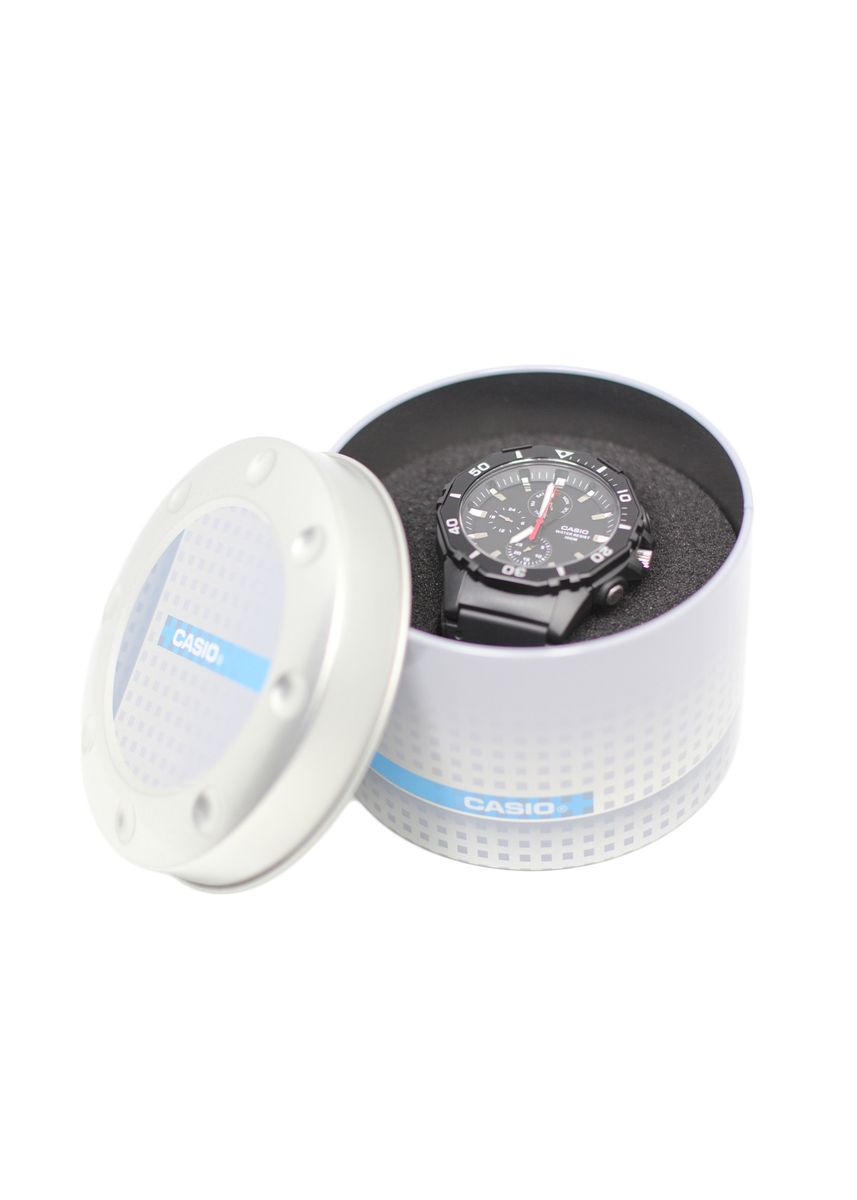 Grey color Watch Cases . Casio Original Round Tin Can -