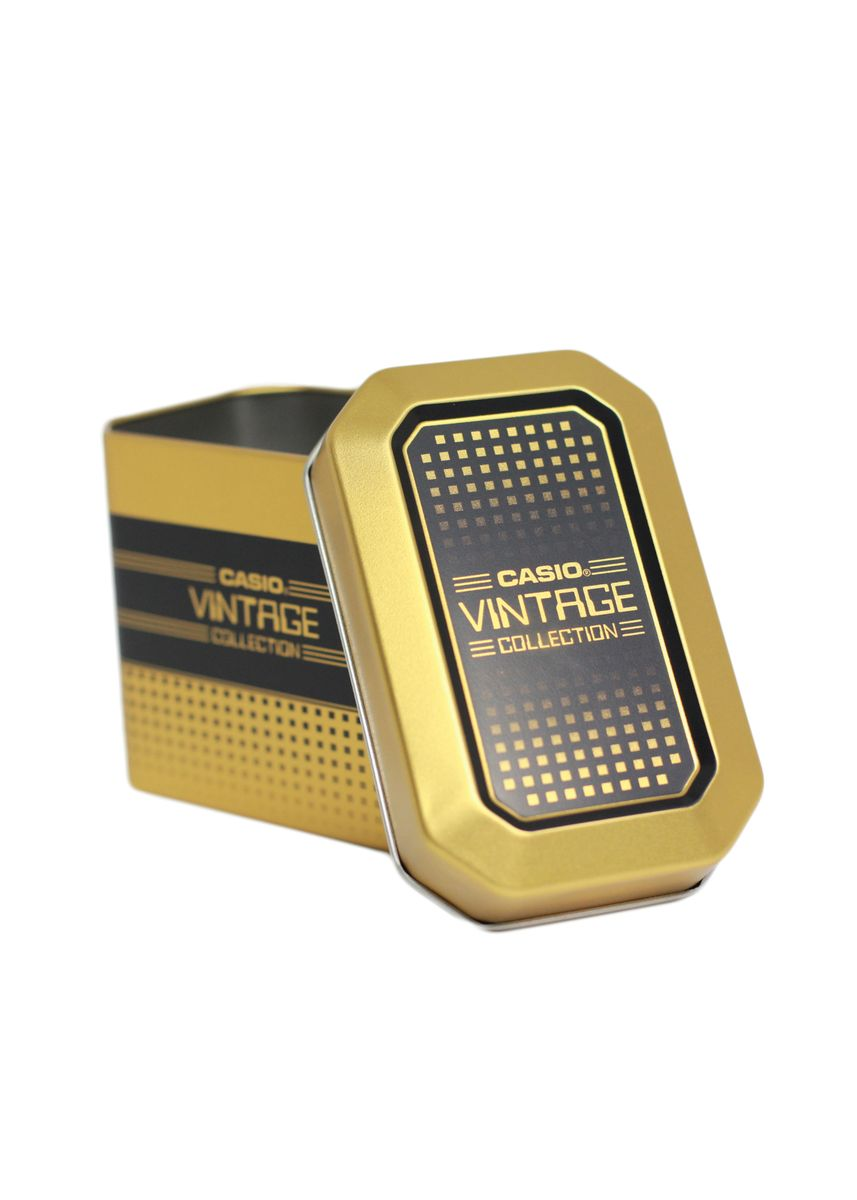 Gold color Watch Cases . Casio Original  Vintage Tin Can -