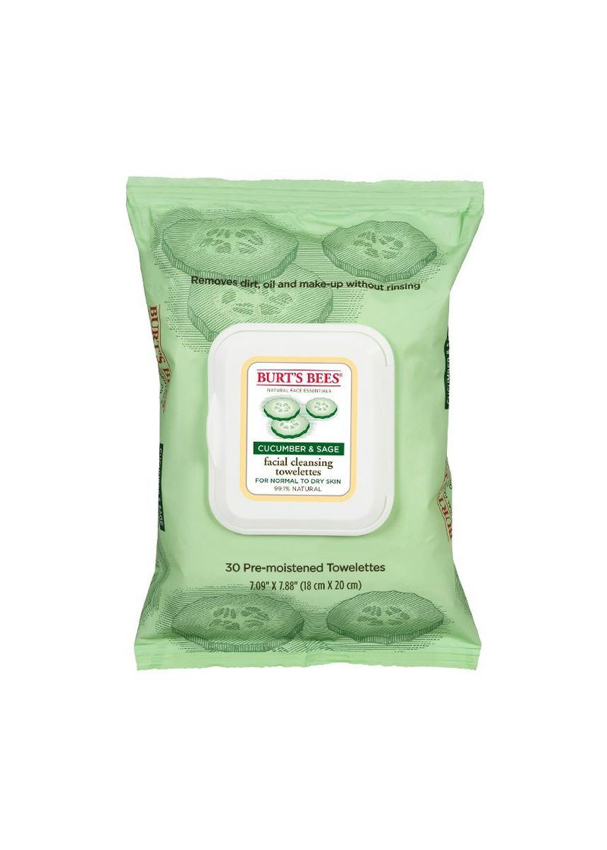 No Color color Toner & Cleanser . Burt's Bees Facial Cleansing Towelettes สูตร Cucumber & Sage Extracts 30 แผ่น -