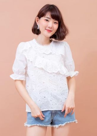 White color Tops and Tunics . sweetpepperdress เสื้อคอวีฉลุลาย รุ่น Pearl Lace Top -