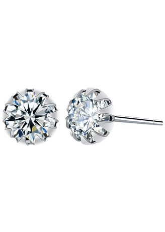 Silver color Other . Silver Kingdom Original 92.5 Italy Silver April Birthstone Earrings -
