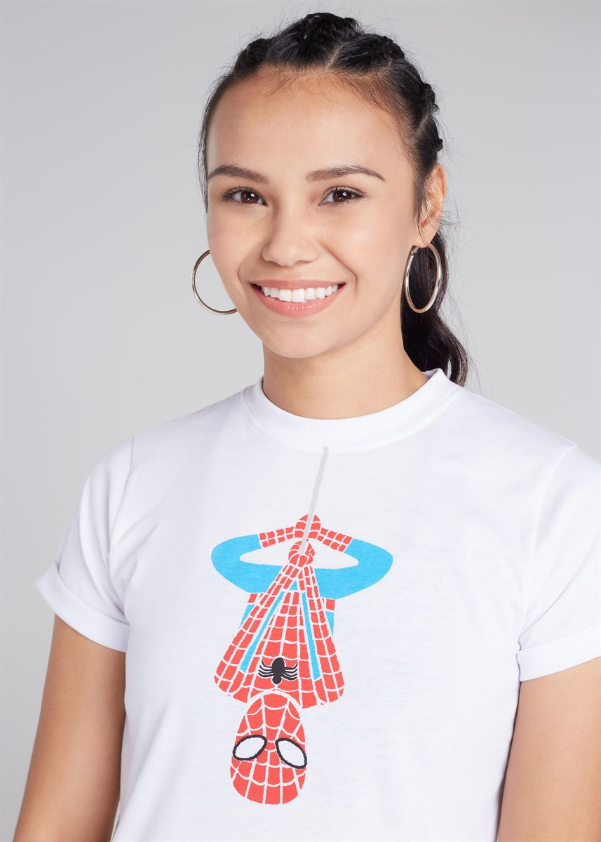 White color Tees & Shirts . Official Marvel's Spider-Man Print Round Neck T-shirt -