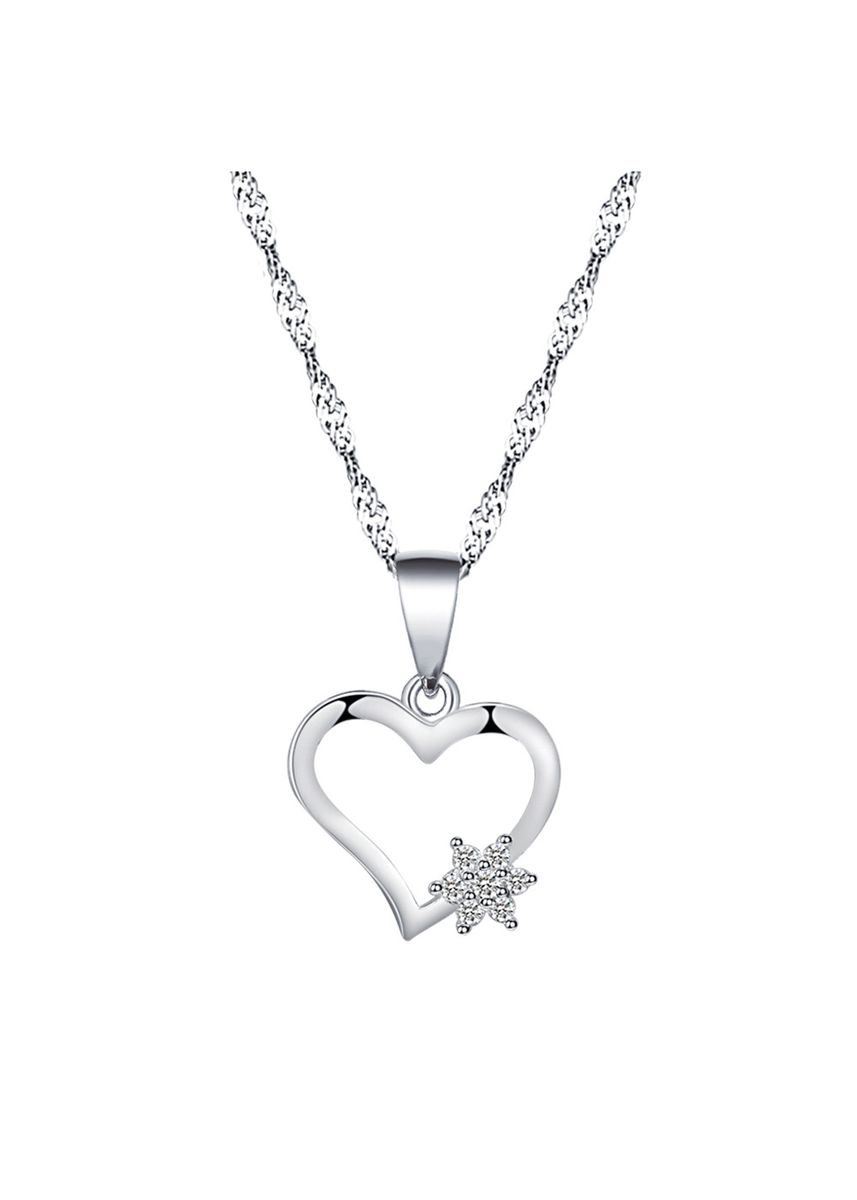 Silver color Other . Silver Kingdom Original 92.5  Italy Silver Heart Necklace With Stone -