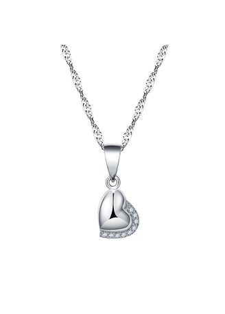 Silver color Other . Silver Kingdom Original 92.5  Italy Silver Heart Slide Necklace With Stone -
