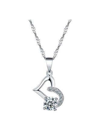 Silver color Other . Silver Kingdom Original 92.5  Italy Silver Heart Necklace With Diamond -