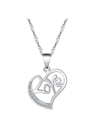 Silver color Other . Silver Kingdom Original 92.5  Italy Silver Love Necklace With Stone -