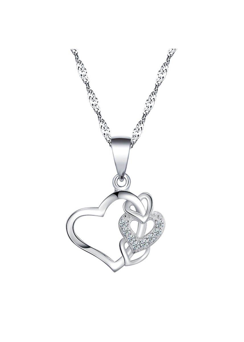 Silver color Other . Silver Kingdom Original 92.5  Italy Silver Double Heart Necklace With Stone -