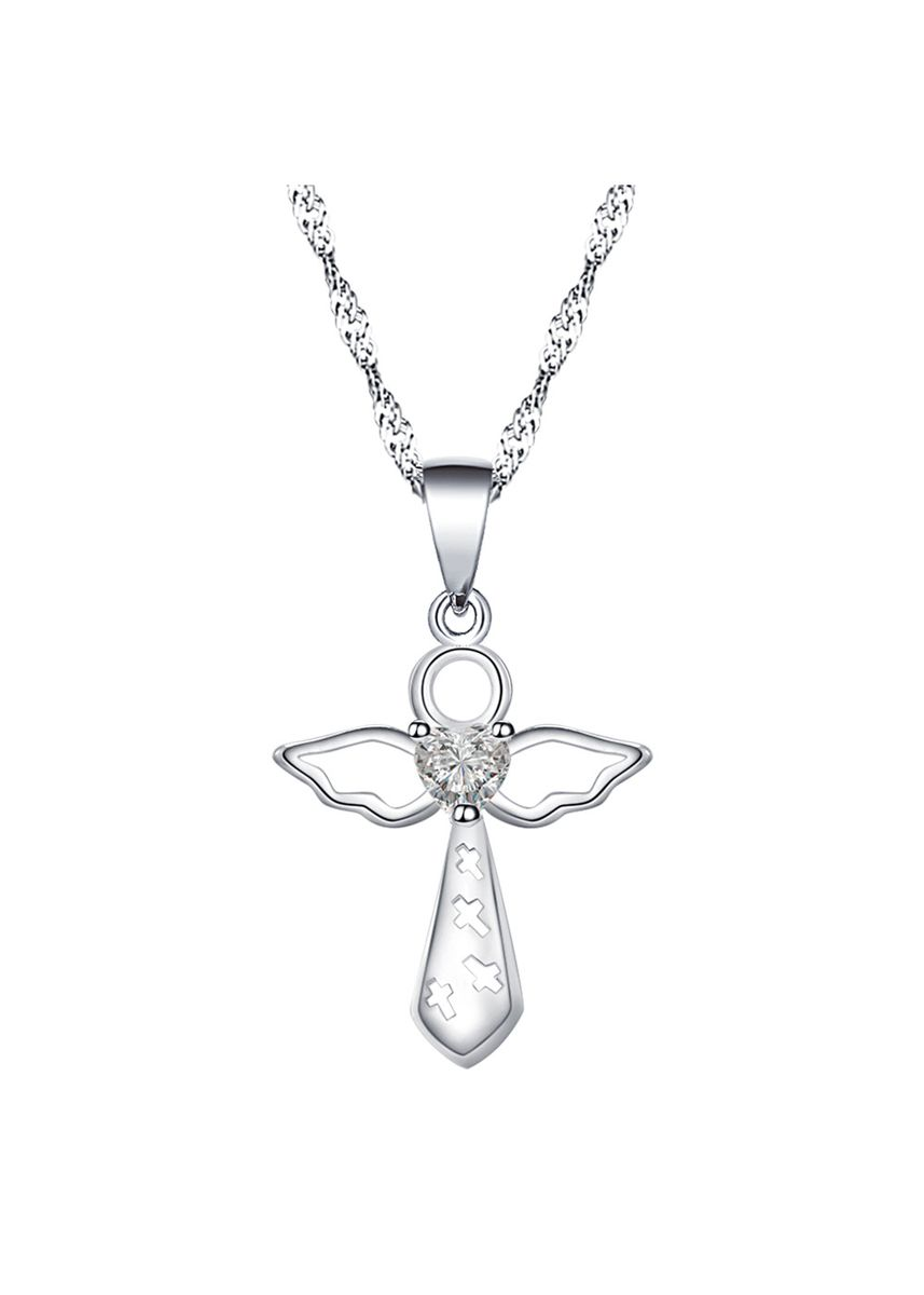 Silver color Other . Silver Kingdom Original 92.5  Italy Silver Cross With Feather Necklace -