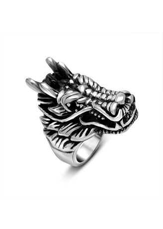 เงิน color แหวน . Vintage Tide Male Titanium Steel Horse Phase Ring -