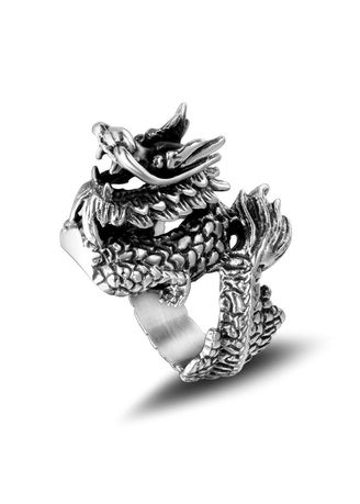 Silver color Rings . Retro Domineering Men's Chinese Dragon Ring -