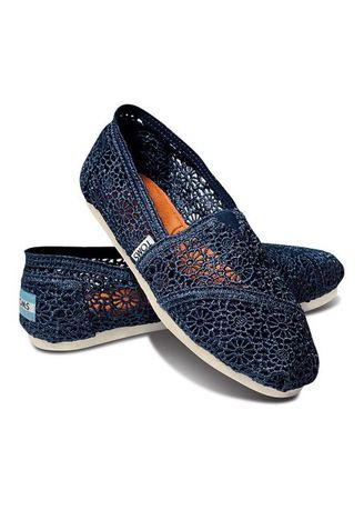 Navy color Casual Shoes . Toms Navy Crochet  -
