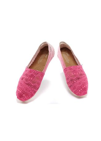 Pink color Casual Shoes . Toms  Fuschia Dip-Dyed  Crochet  -