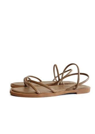 Tan color Sandals and Slippers . Simple Round-headed Flat-soled Sandals -