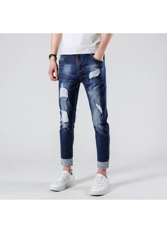 Jeans . Men's Holes Ripped Jeans Ankle Length -