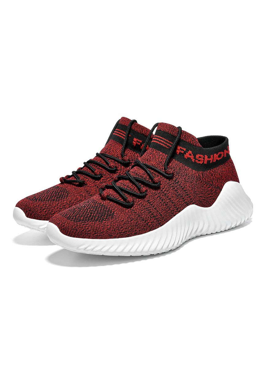 Red color Sports Shoes . Socks breathable sports casual men's shoes -