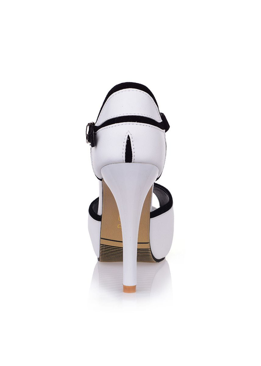 White color Heels . Fish mouth color matching dinner high heels -