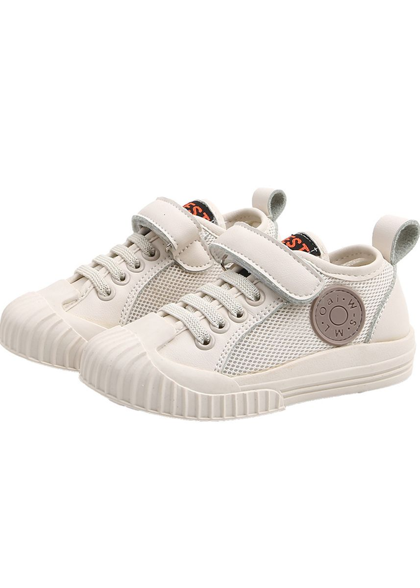 สีเบจ color รองเท้า . Breathable Sneakers Magic Tape Shoes For Boys & Girls -