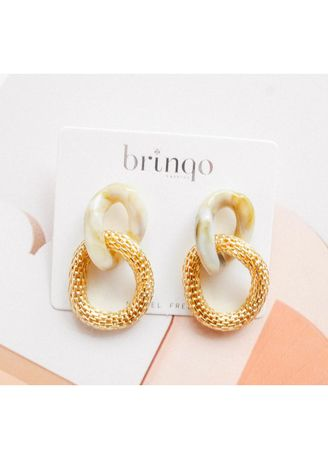 ทอง color  . brinqo gold stone chain minimal earring -
