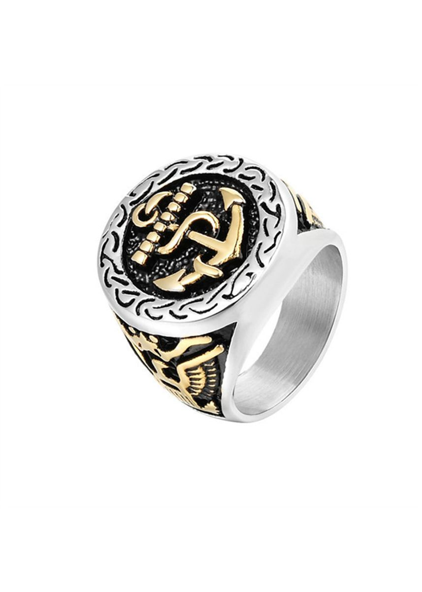 มัลติ color แหวน . Personality Double Eagle Anchor Men's Army Ring -