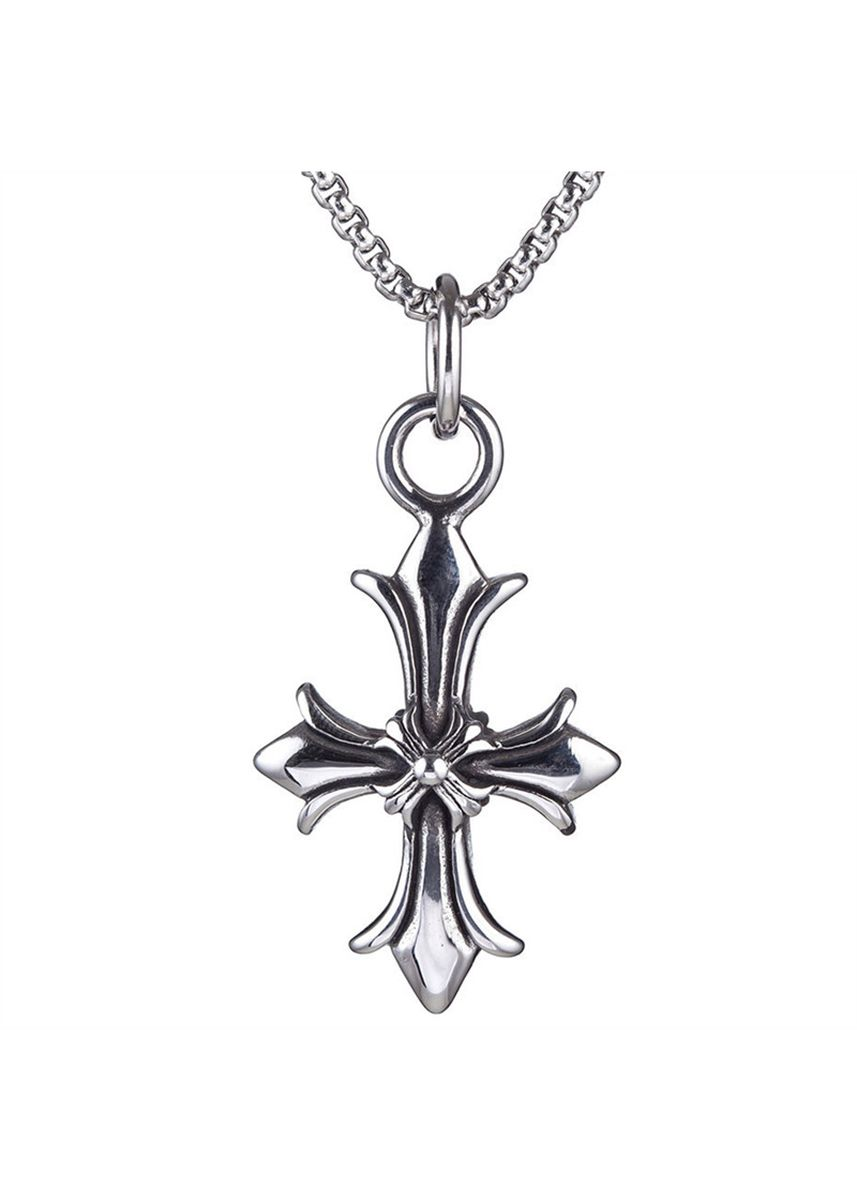 Silver color Necklaces . Vintage Cross Titanium Steel Personality Necklace -