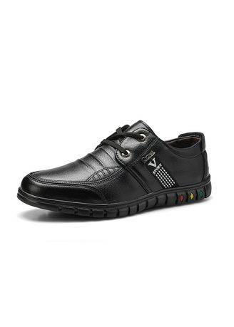 Black color Casual Shoes . Men's Leisure Shoes Lightweight Soft Leather Shoes -
