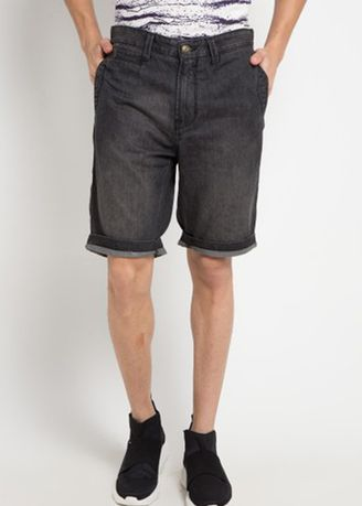 Grey color Shorts & 3/4ths . EMBA JEANS Geoges Short Pants in Ice Wash -