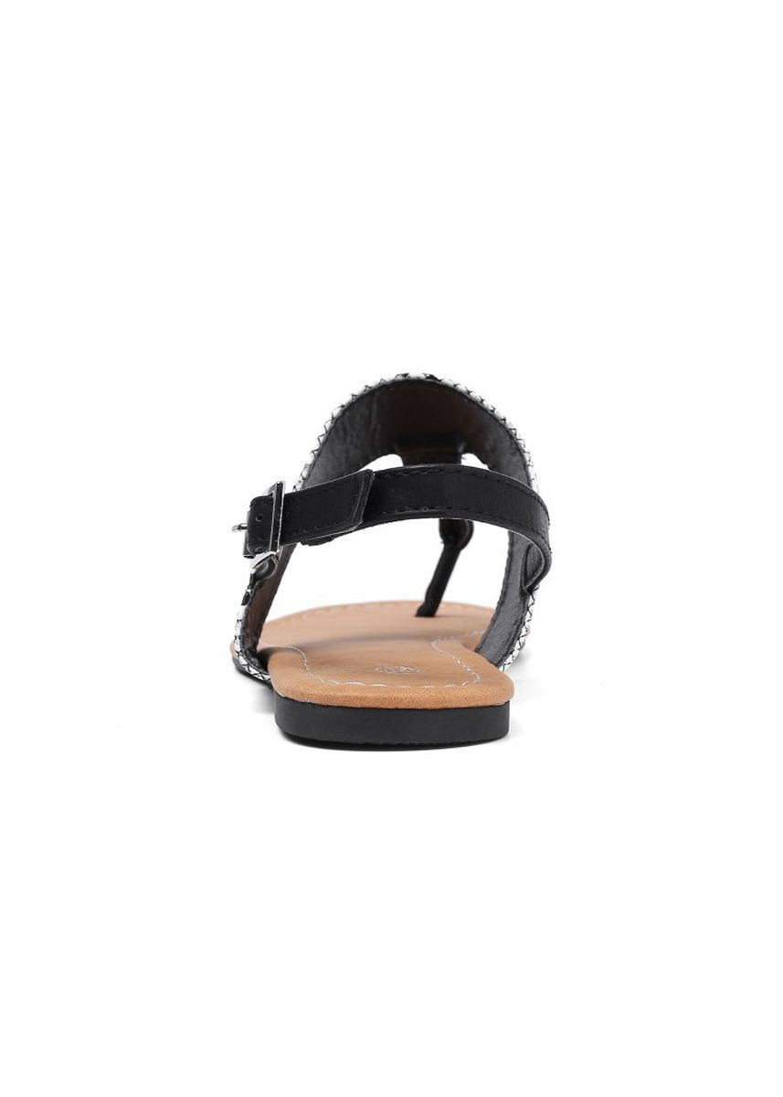 White color Sandals and Slippers . One-character Buckle Flat-soled Sandals -