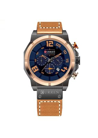 Gold color Chronographs . Curren Watch Jam Tangan Analog Pria PU Leather Waterproof Free Box Exclusive -