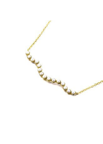 Gold color  . Natural Freshwater Pearl Wave Necklace -