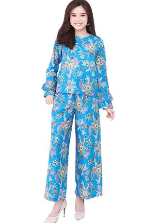 Light Blue color Tops and Tunics . Set 2 Layers Sleeve & Cullote 05 Blue Naura -