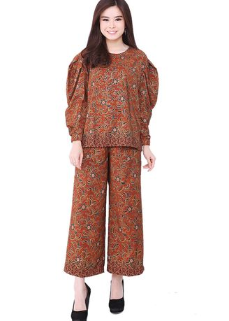 Brown color Tops and Tunics . Set Loly Blouse & Cullote 05 Brown Candy -