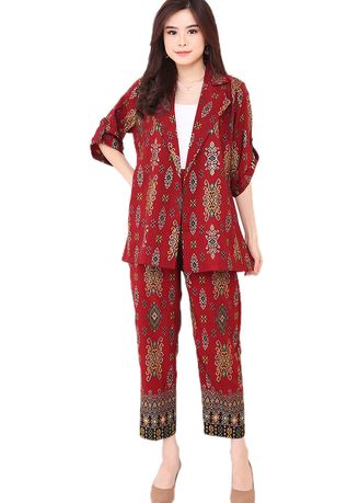 Maroon color Atasan & Tunik . Set Blazer 3/4 Sleeve & Pencil Pants Maroon Elite Songket -