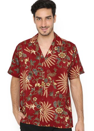 Maroon color Kemeja Formal . Hawaiian Shirt Maroon Sativa -