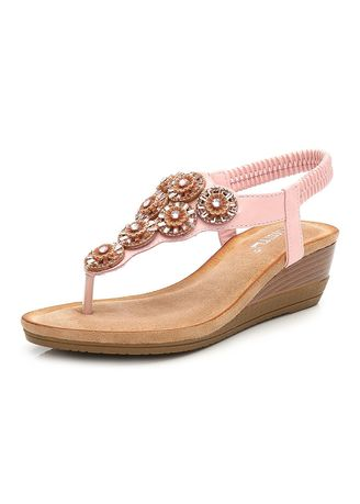 Pink color Sandals and Slippers . Water Drill  Slope Heel Sandals -