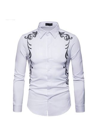 White color Casual Shirts . BTS Kemeja Kevin -