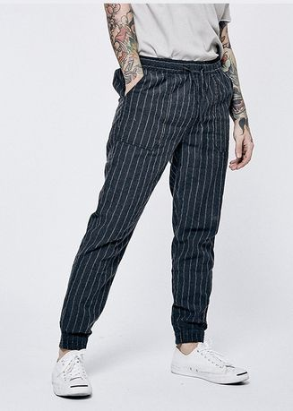 Casual Trousers and Chinos . Men Casual Striped Linen Trousers -