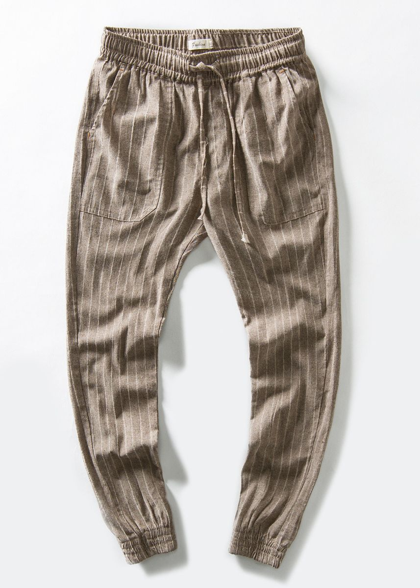 Brown color Casual Trousers and Chinos . Men Casual Striped Linen Trousers -