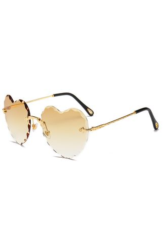 Yellow color Sunglasses . Frameless Sunglasses In Europe And The Trend Of Personality Street -