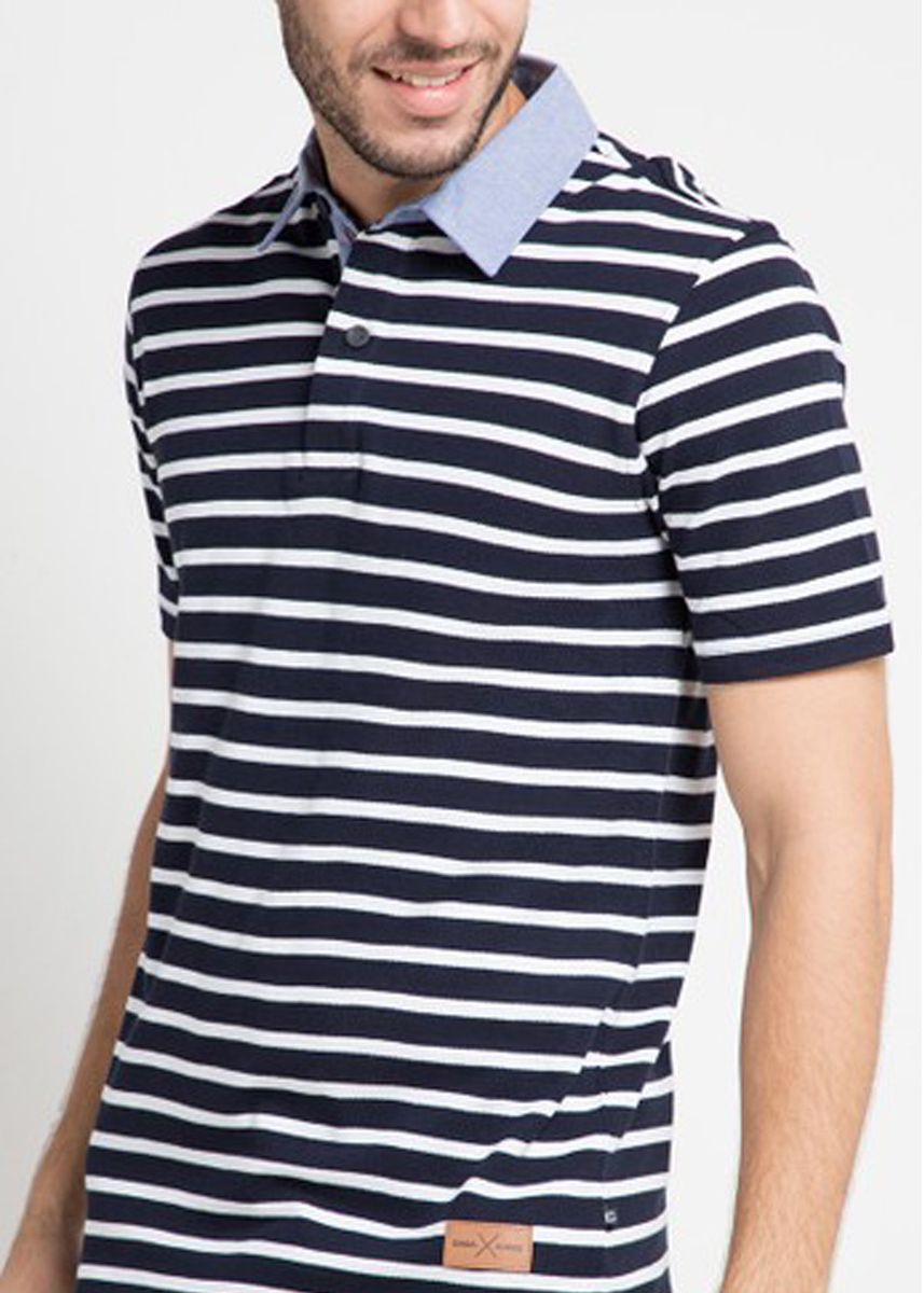 Navy color T-Shirts and Polos . EMBA CLASSIC-Vicenzo Polo Pria Warna Navy -