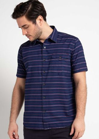 Biru Dongker color Kemeja Kasual . EMBA CLASSIC-Dinom Men's Shirt in Navy -