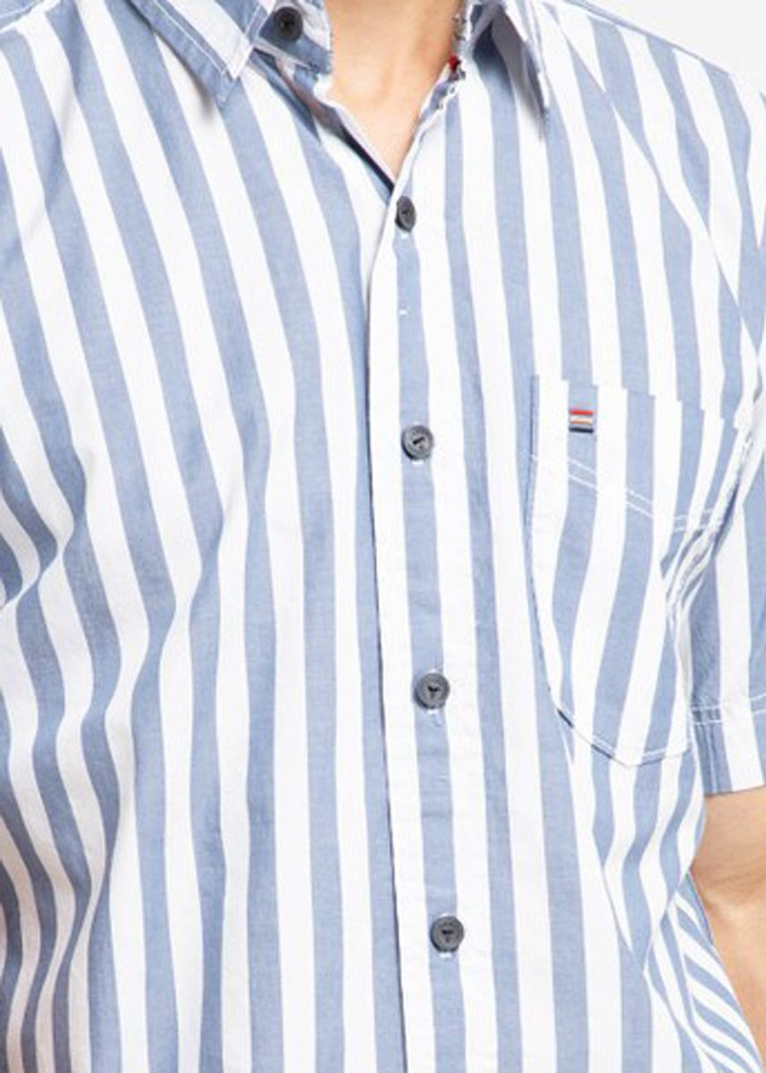 Biru Dongker color Kemeja Kasual . EMBA CLASSIC-Bruchio Men's Shirt in Navy -