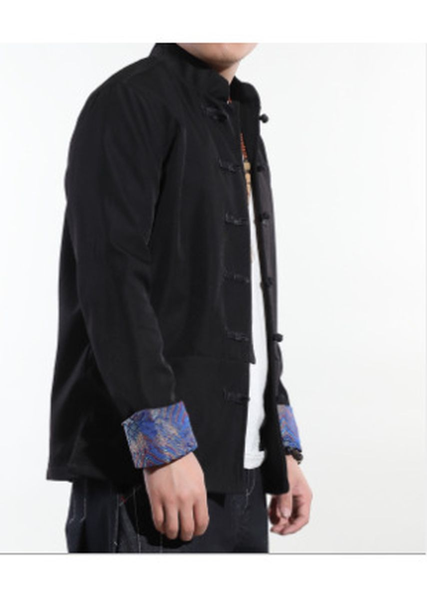 Blue color Jackets . Men's Cotton Mandarin Collar Roll-Up Sleeves Casual Buttoned Jacket -