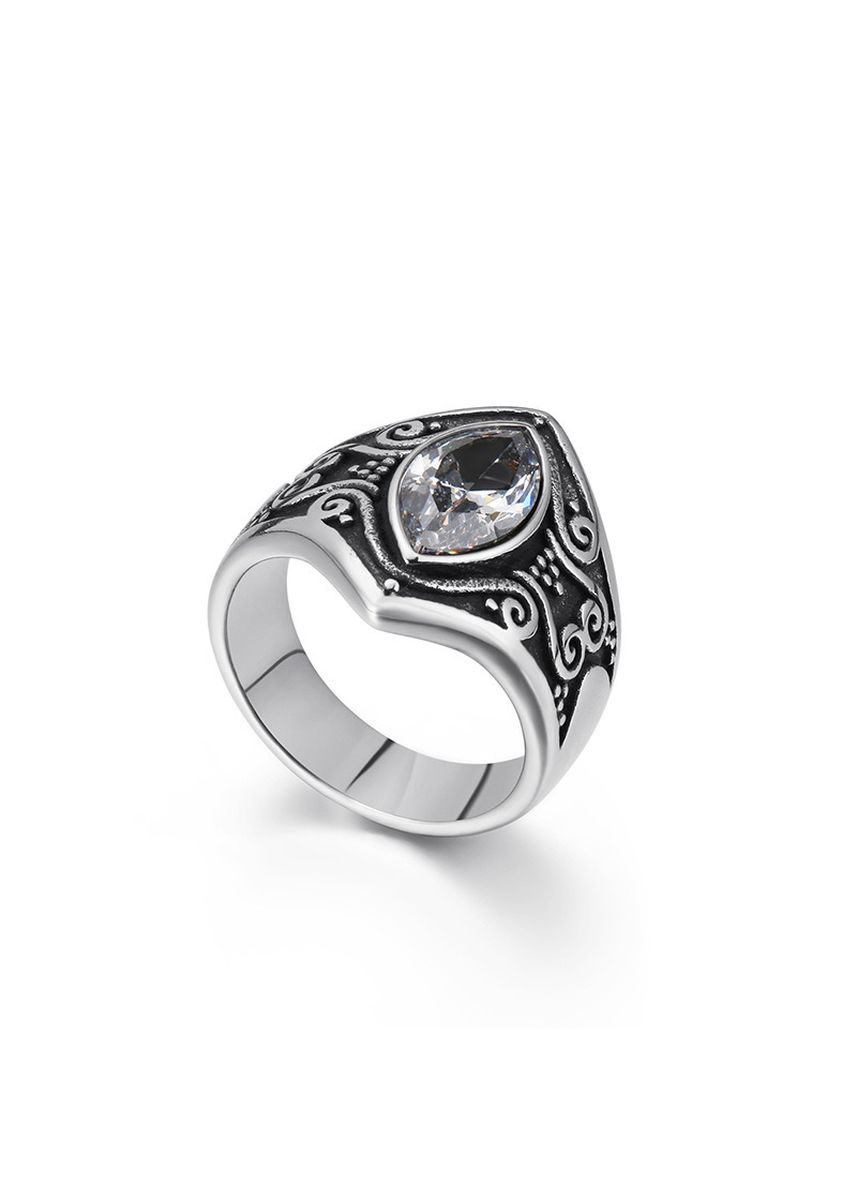 ขาว color แหวน . Vintage Stainless Steel Gemstone Carved Men's Ring -