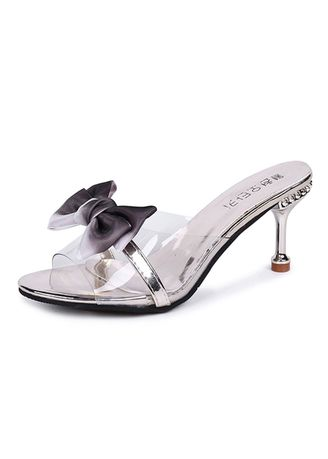 Gold color Sandals and Slippers . Women Summer Fashion Transparent Bow Heels -